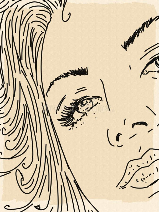 Details of a woman`s face stock illustration