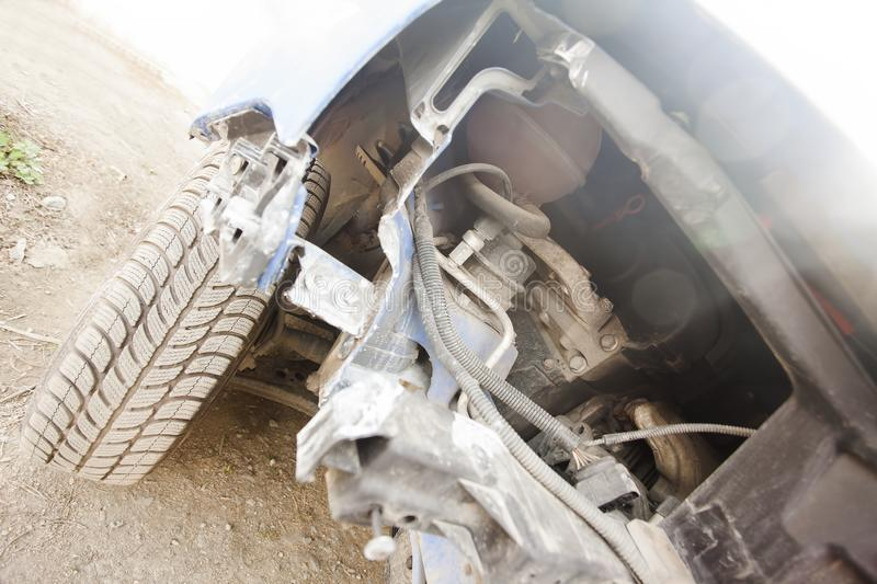 Details of wrecked and damaged car royalty free stock photos