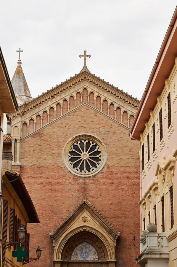 Detailsarchitectuur van stad Senigallia Kathedraal royalty-vrije stock afbeelding