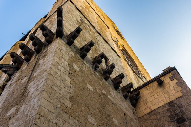 Detailvoorgevel van Santa Chiara Church in de Stad van Napels stock afbeelding