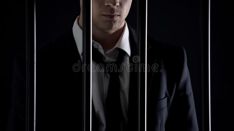 Detained billionaire waiting for court in prison, tax evasion, illegal business. Stock photo stock image