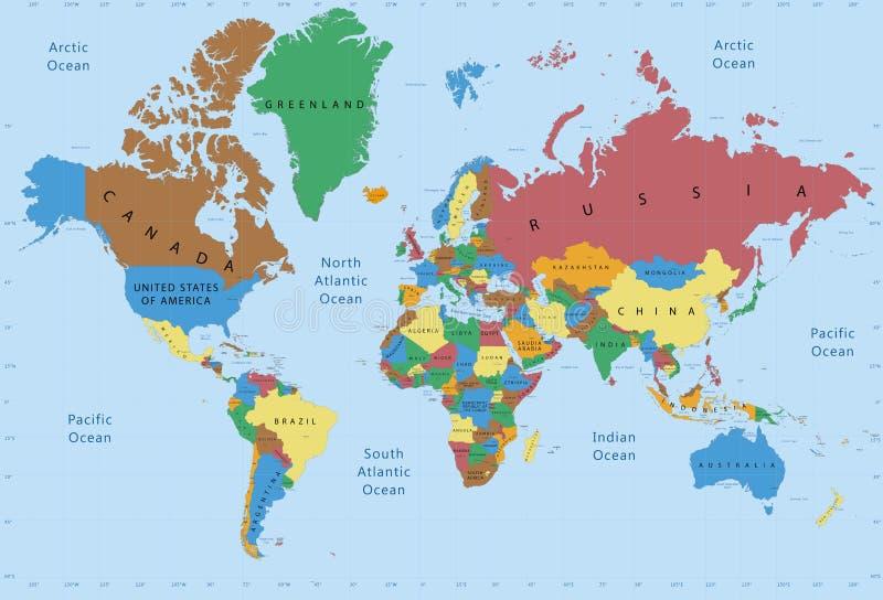 Detalhado político do mapa do mundo ilustração do vetor