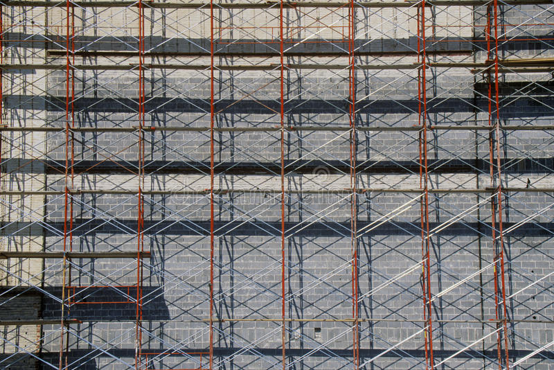 Detalhe abstrato de andaime na renovação da construção, Ft Valor, TX imagens de stock royalty free