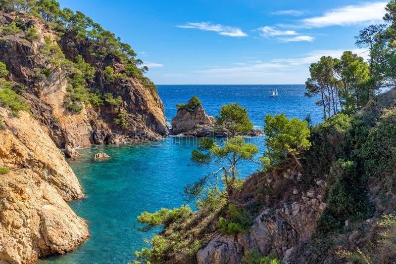 Detalhe agradável de Costa Brava litoral na Espanha, La Fosca fotografia de stock