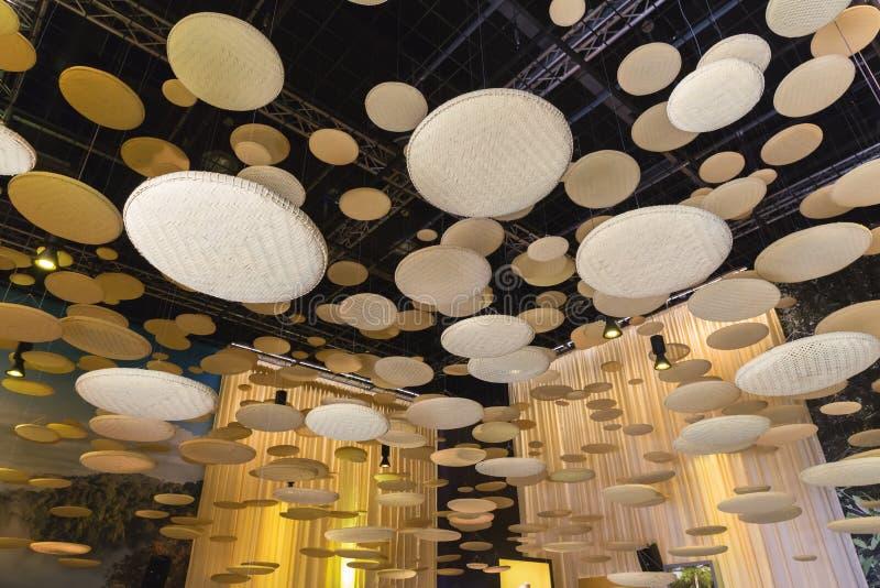 Detalhe arquitetónico dentro do pavilhão de Brunei Darussalam na expo 2015 em Mila imagens de stock royalty free