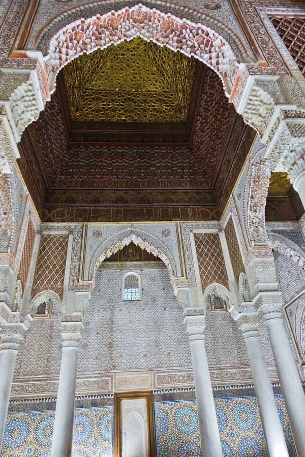 Detalhe arquitetónico no palácio de Baía em C4marraquexe, Marrocos fotografia de stock royalty free