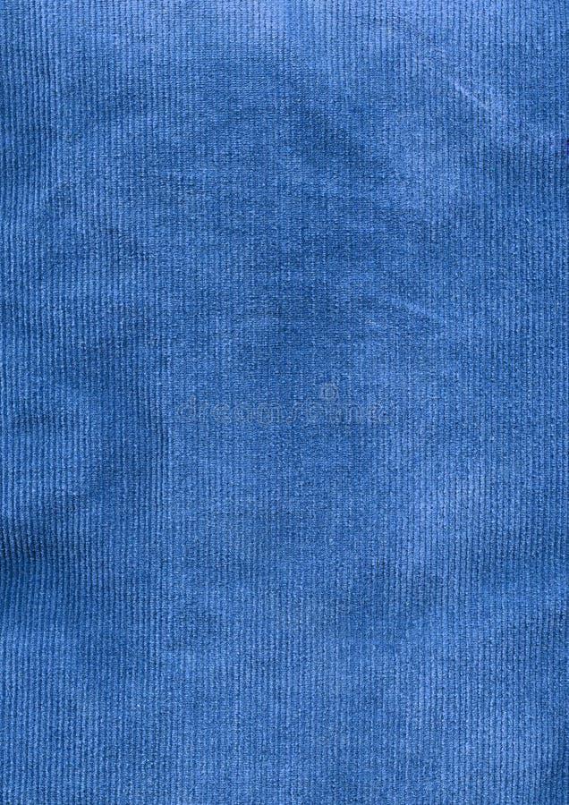 Detalhe azul da tela do veludo de algodão foto de stock
