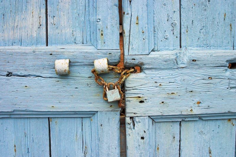 Detalhe azul velho da porta fotografia de stock