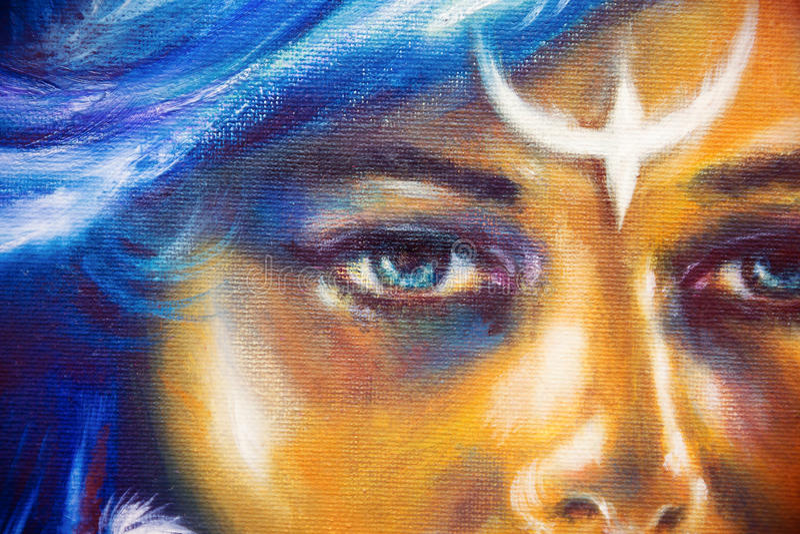 Detalhe a cara místico da mulher com tatuagem decorativa no cabelo da cara e do azul, contato de olho ilustração stock