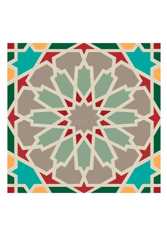 Detalhe colorido decorativo islâmico do projeto da textura decorativa árabe do arabesque de ilustração do mosaico geométrico foto de stock