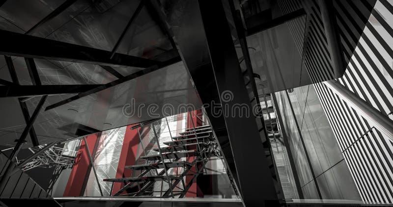 detalhe 3d. Interior industrial moderno, escadas, espaço limpo dentro dentro ilustração royalty free