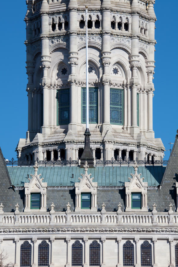 Detalhe da arquitetura de edifício do Capitólio em Hartfor foto de stock royalty free