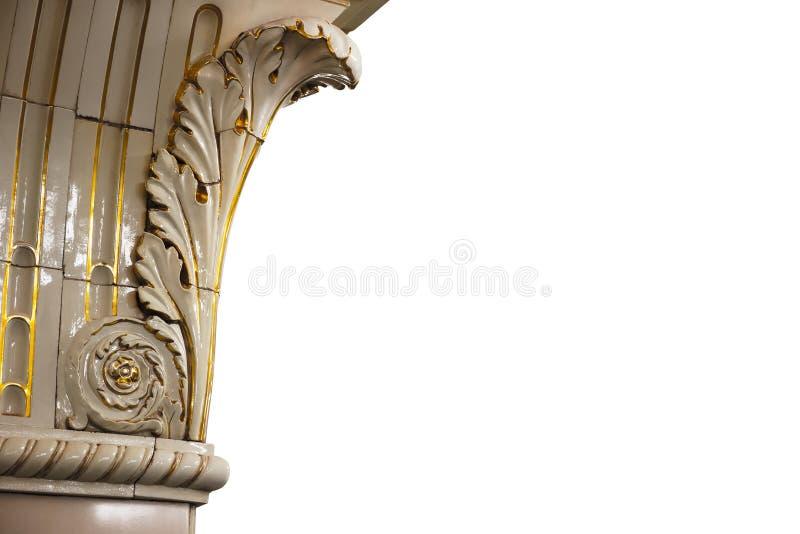 Detalhe da arquitetura no fundo branco fotografia de stock