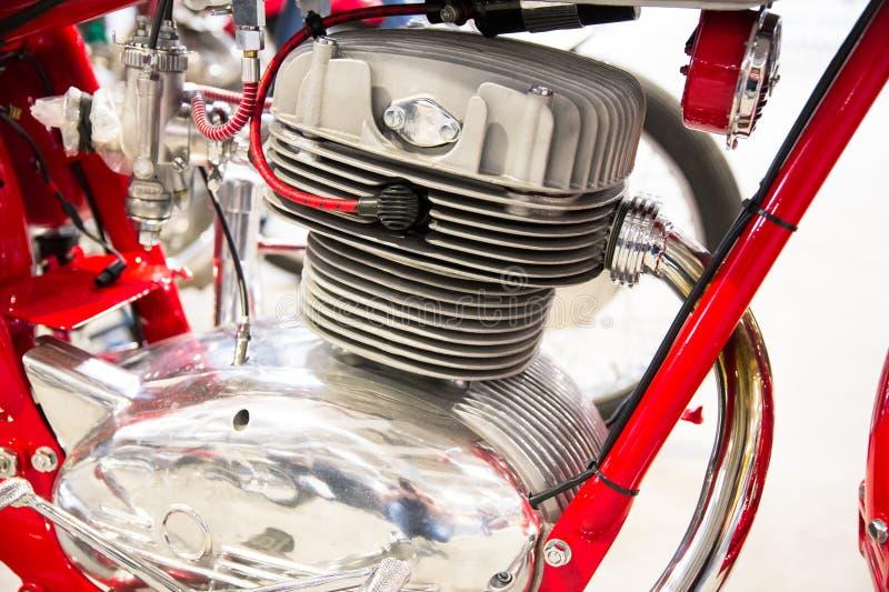 Detalhe da cabeça do motor de motocicletas de um vintage foto de stock