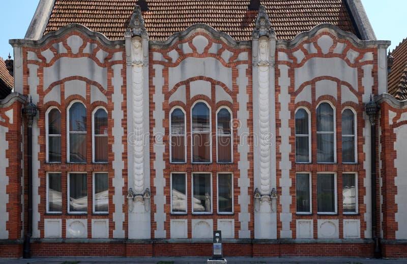 Detalhe da casa bonita de Art Nouveau em Cakovec, Croácia foto de stock