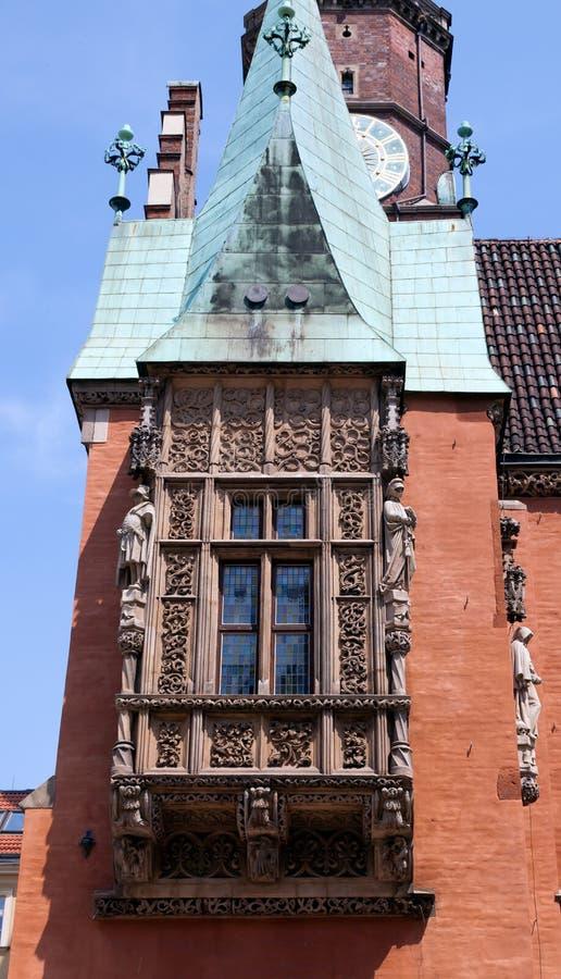 Detalhe da cidade salão, Wroclaw, Poland fotografia de stock
