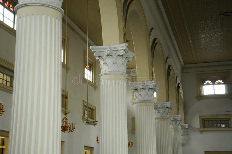 Detalhe da coluna de Sultan Abu Bakar State Mosque em Johor Bharu, Malásia foto de stock