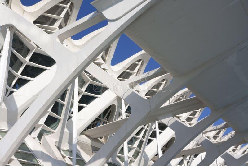 Detalhe da estrutura da construção de Santiago Calatrava em Valência imagem de stock royalty free