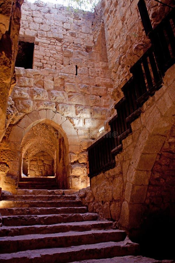 Detalhe da fortaleza, Ajloun, Jordão. Forte árabe fotos de stock royalty free