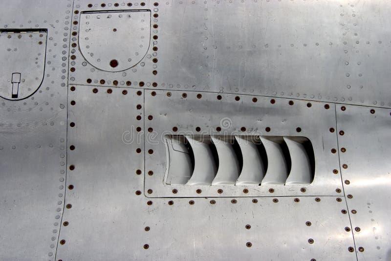 Detalhe da pele do avião do jato imagens de stock