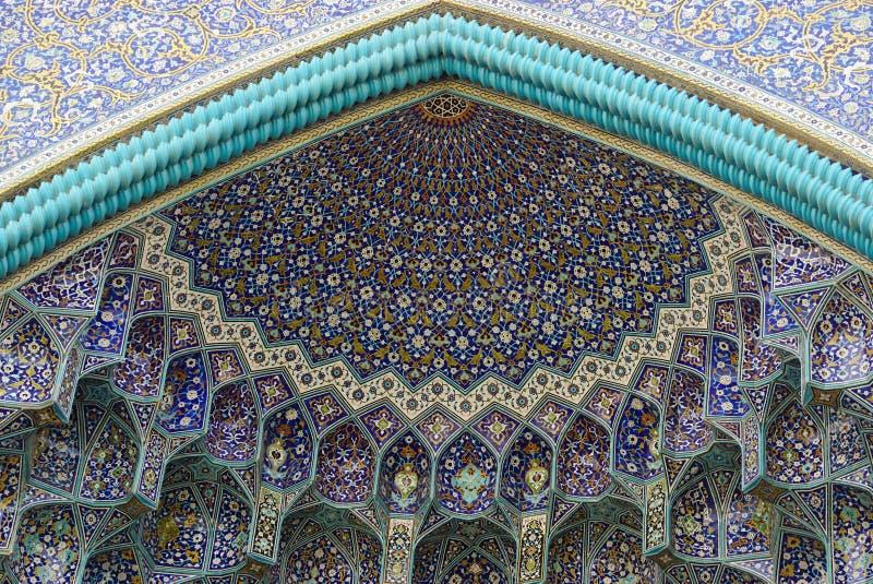 Detalhe da porta da entrada da mesquita da imã, Irã fotografia de stock royalty free