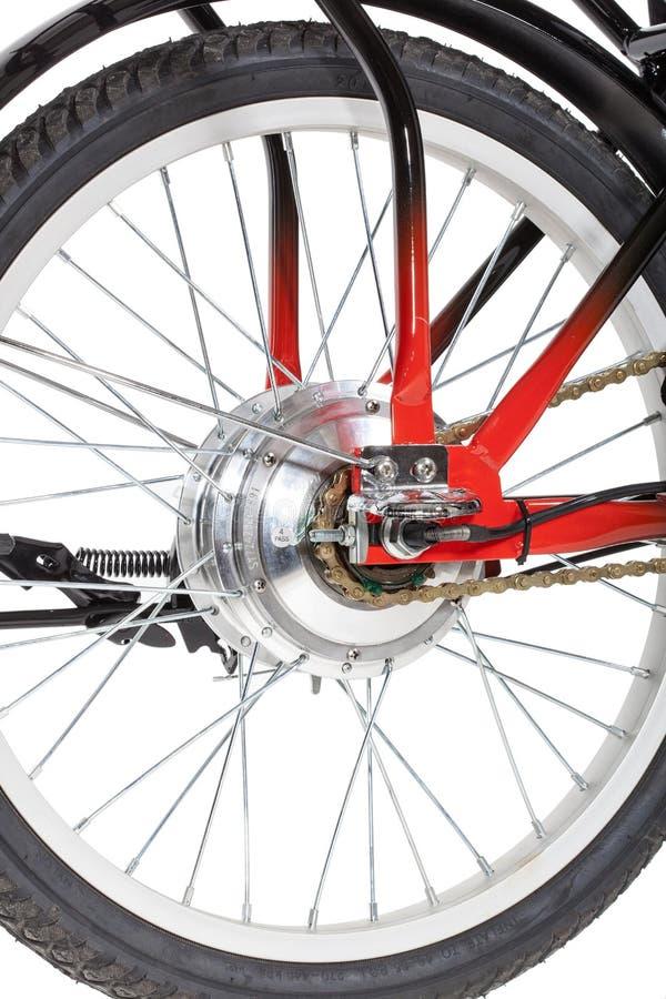 Detalhe da roda traseira da bicicleta imagem de stock