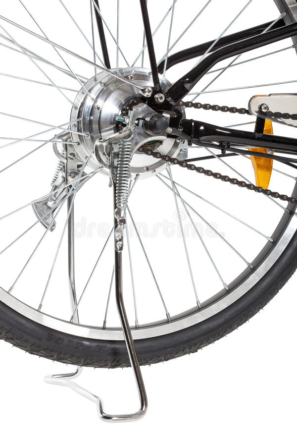 Detalhe da roda traseira da bicicleta fotos de stock royalty free