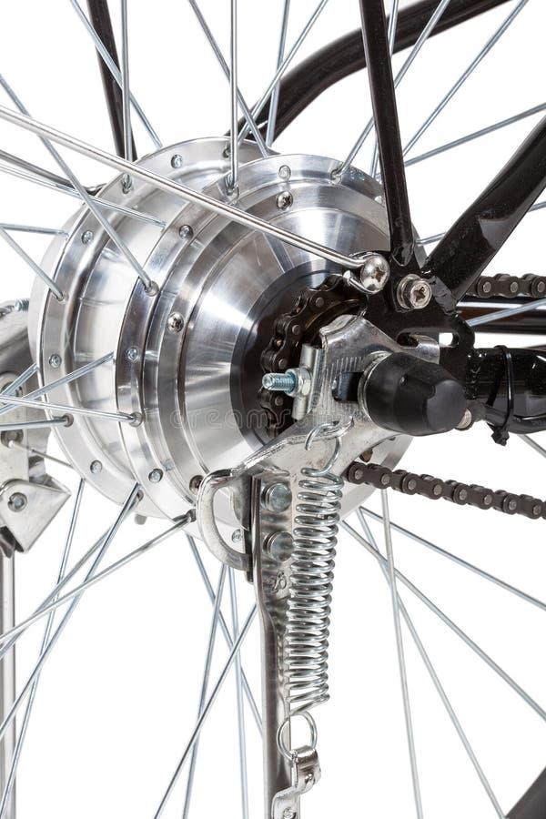 Detalhe da roda traseira da bicicleta fotografia de stock