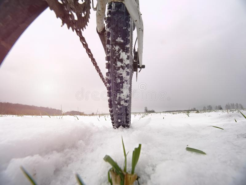 Detalhe da roda traseira de mtb A neve lasca-se derretendo na obscuridade fora do pneumático da estrada inverno no campo foto de stock royalty free