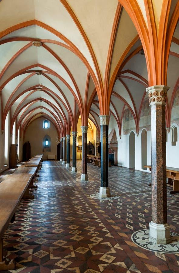 Detalhe da sala de jantar do castelo de Malbork foto de stock