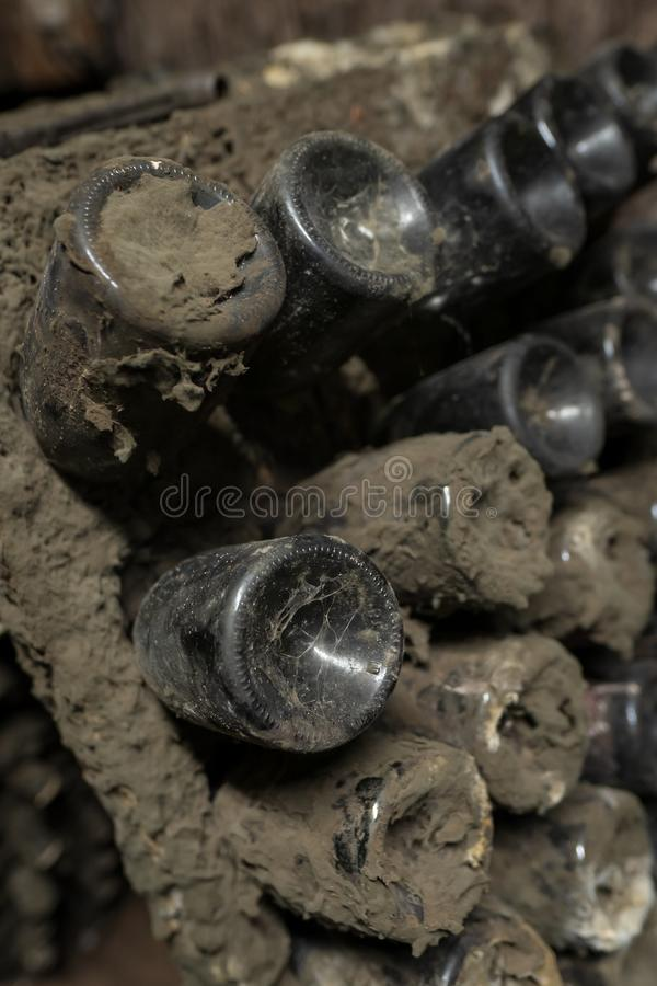 Detalhe da teia de aranha na garrafa de vinho na adega de vinhos velha da adega imagem de stock