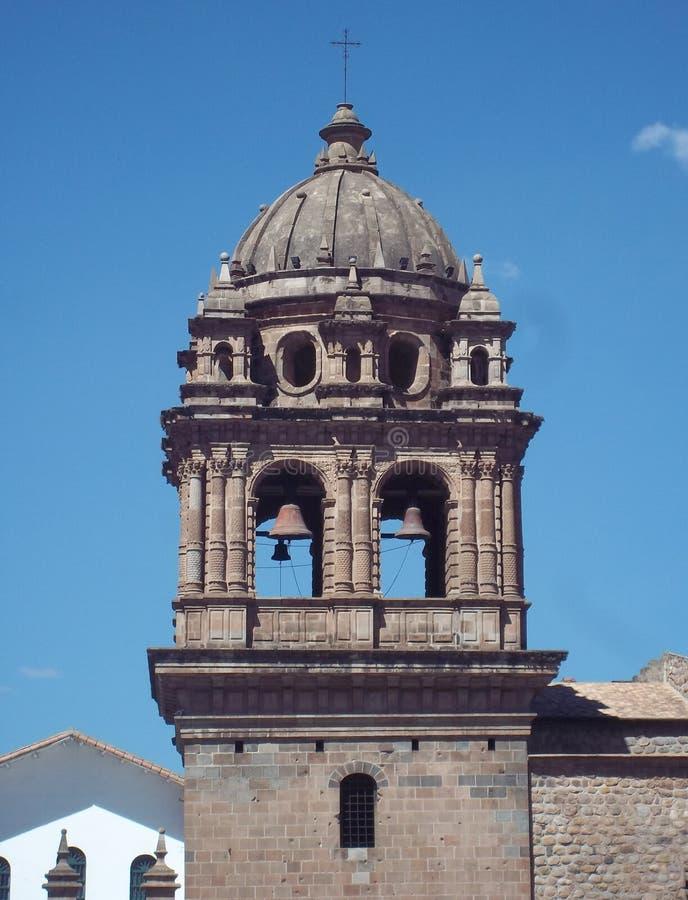 Detalhe da torre da catedral de Cuzco, Peru imagem de stock royalty free
