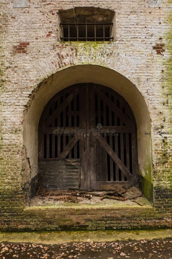 Detalhe das paredes da fortaleza de Edegem, Antuérpia imagens de stock