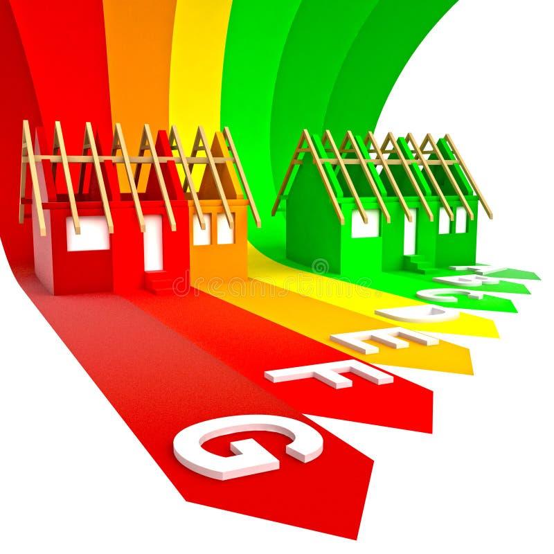 Detalhe de avaliação de classe da energia do edifício novo ilustração do vetor