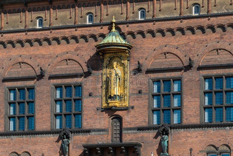 Detalhe de câmara municipal de Copenhaga, Dinamarca imagem de stock