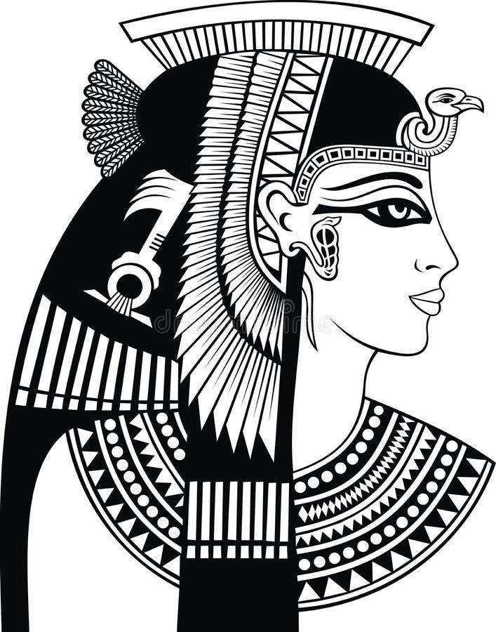 Detalhe de cabeça de cleopatra ilustração stock