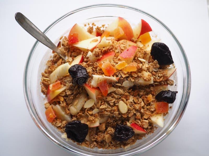 Detalhe de café da manhã do musli da aptidão foto de stock royalty free
