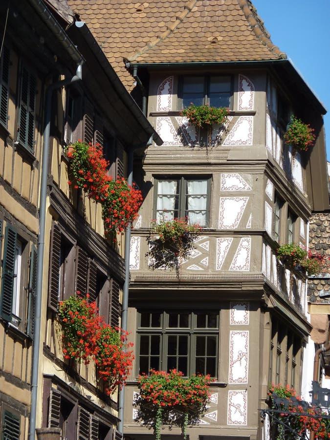 Detalhe de casas Alsatian típicas imagens de stock
