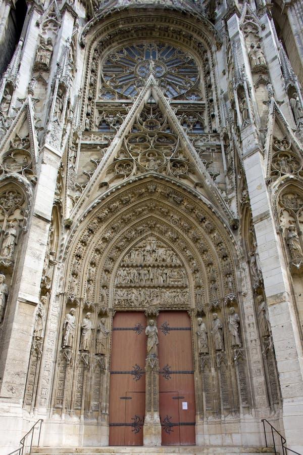 detalhe de catedral Notre Dame, Rouen, Normandy, França fotografia de stock royalty free