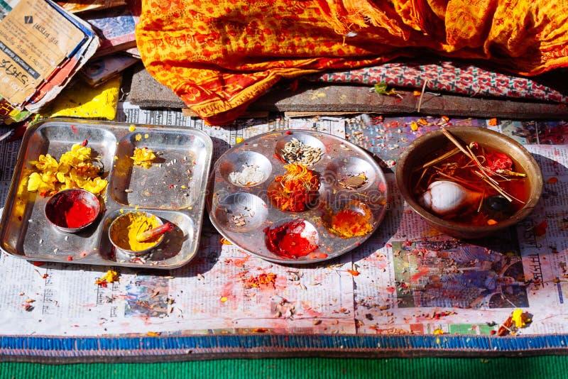 Detalhe de cerimônia hindu em Kathmandu, Nepal fotografia de stock