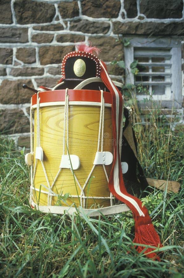 Detalhe de cilindro, Daniel Boone Homestead Brigade da Revolução Americana, exército continental, Reenactment histórico fotografia de stock