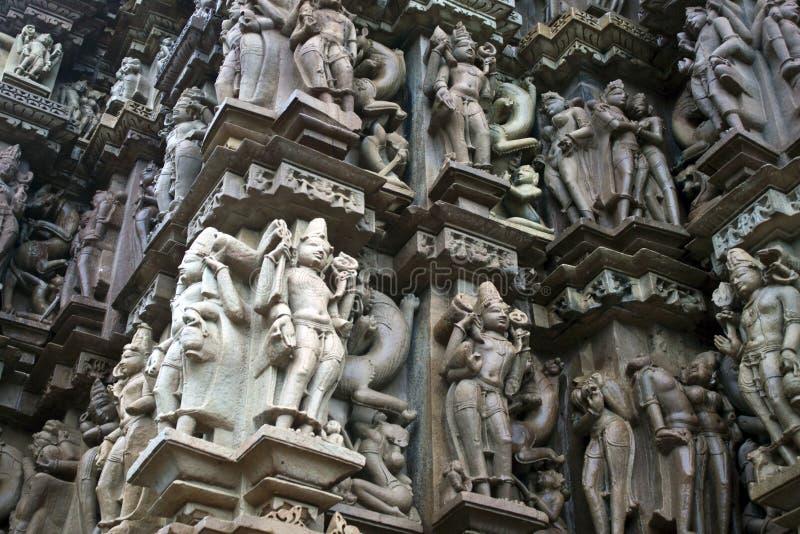 Detalhe de cinzeladura em um templo em Khajuraho imagens de stock royalty free