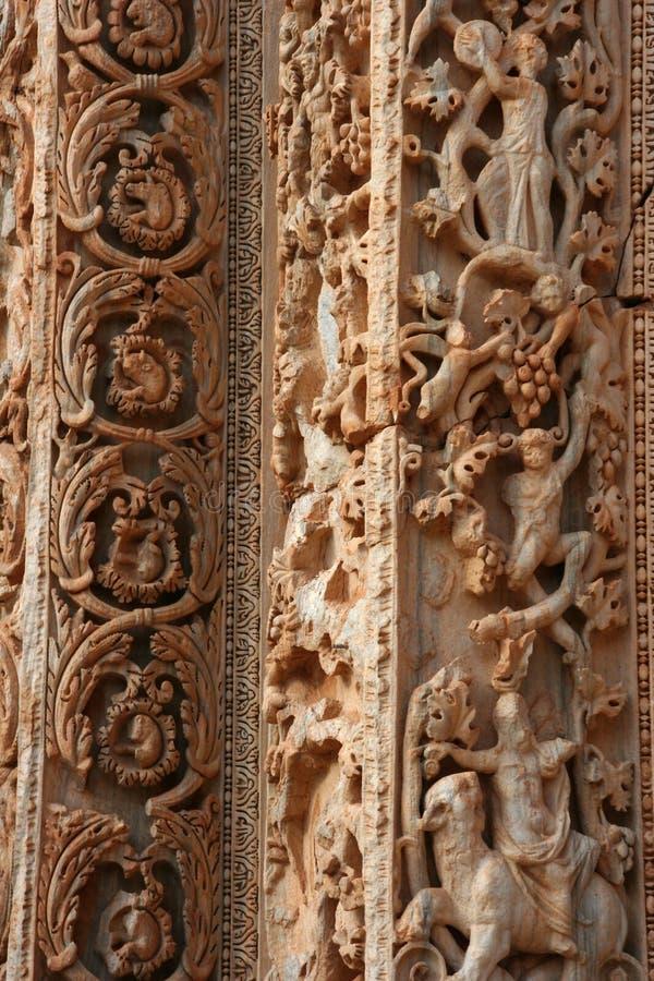 Detalhe de coluna na basílica em magnum Líbia de Leptis fotografia de stock royalty free