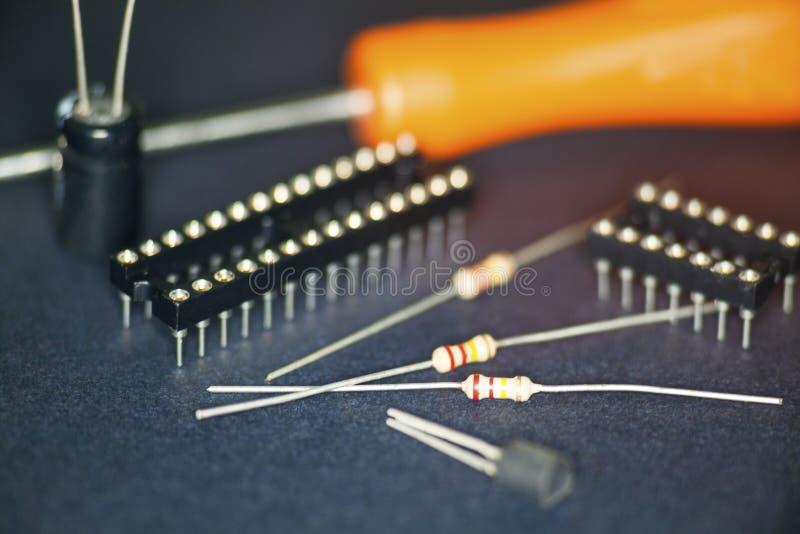 Detalhe de componentes eletrônicos fotografia de stock