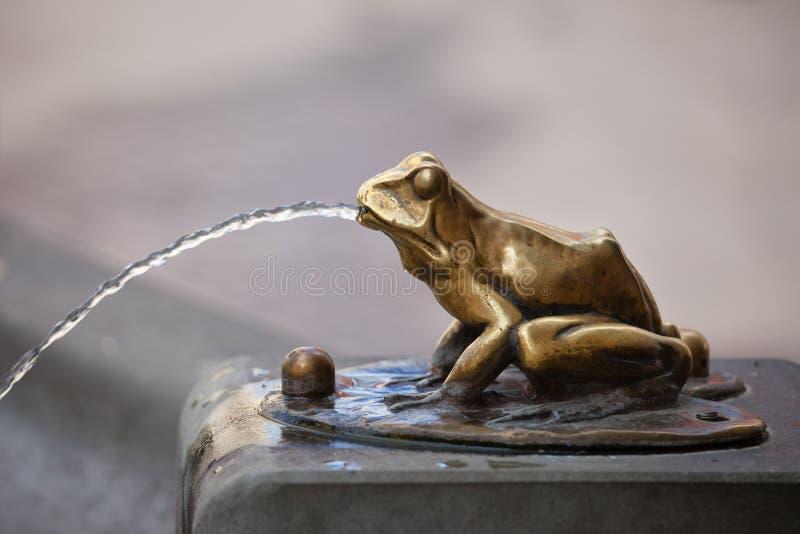Detalhe de derramamento da fonte de água da escultura da rã fotografia de stock royalty free