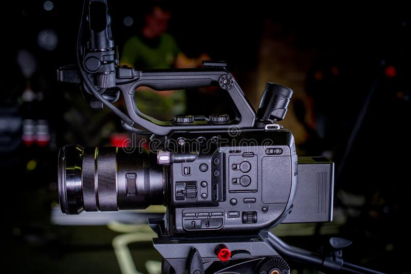 Detalhe de equipamento profissional da câmera, estúdio da produção do filme foto de stock royalty free