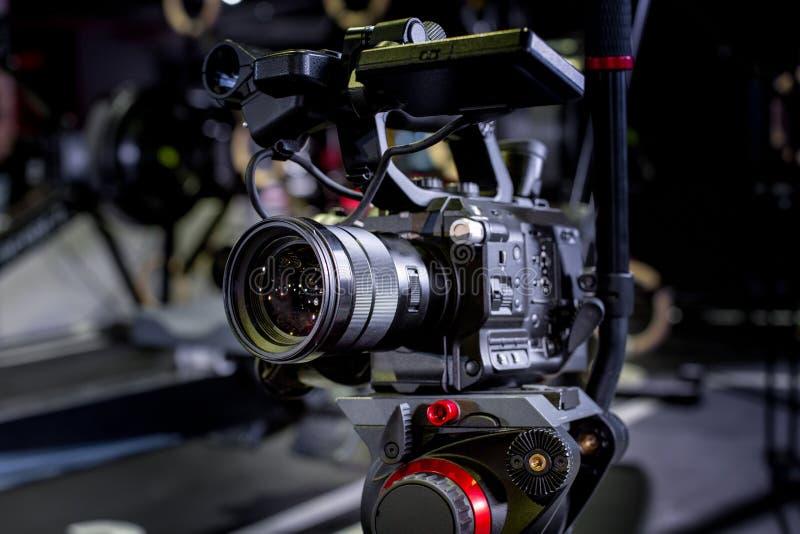 Detalhe de equipamento profissional da câmera, estúdio da produção do filme fotografia de stock royalty free