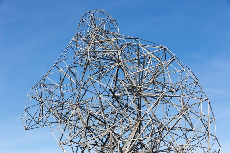 Detalhe de esqueleto de estátua do ferro em Lelystad, os Países Baixos imagem de stock