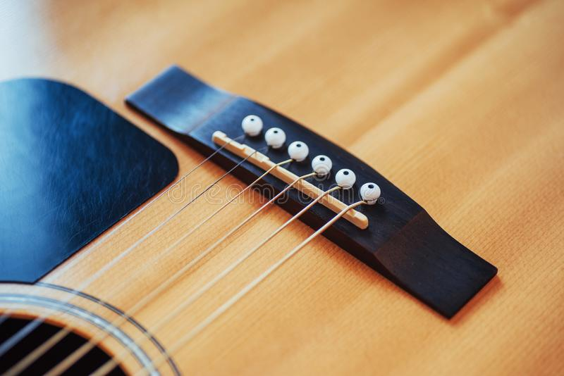 Detalhe de guitarra clássica com profundidade de campo rasa foto de stock royalty free