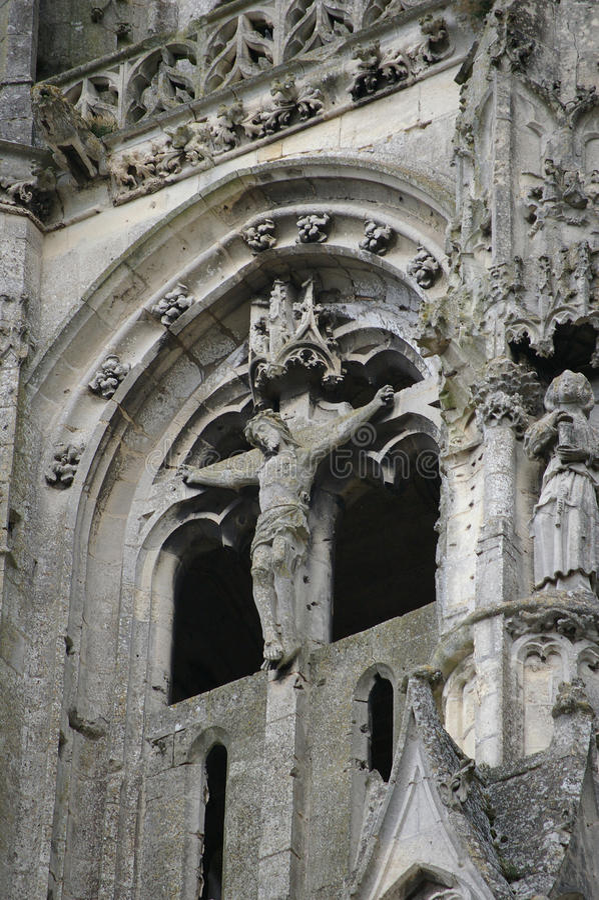 Detalhe de igreja gótico das ruínas fotografia de stock